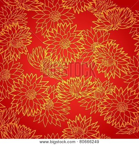 National chinese seamless pattern with chrysanthemum. Chinese new year 2015. Bright Beautiful  vecto