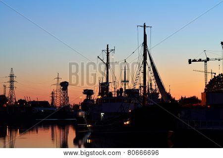 Evening On The Pregel River. Kaliningrad (former Konigsberg), Russia