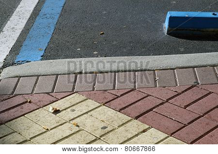 Handicap Parking With Sidewalk Bricks
