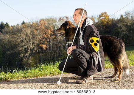 Walk With His Guide Dog