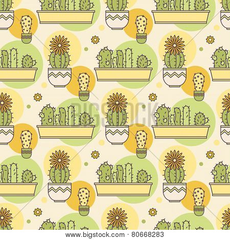 pattern of cacti. Linear illustration. vector