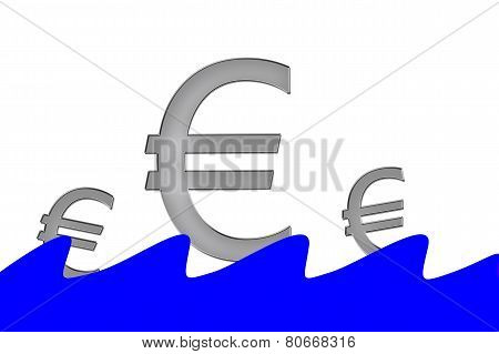 Euro Symbols Swimming On Water