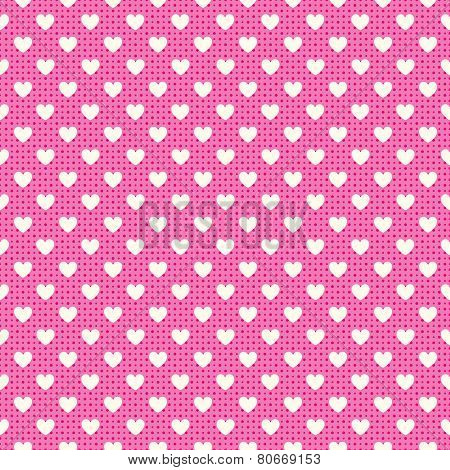 Heart shape vector seamless pattern. Pink and white colors