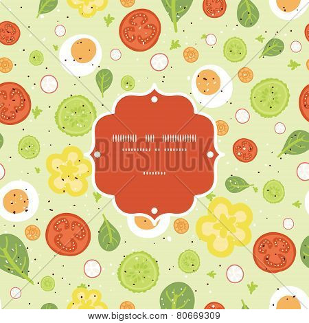 Vector fresh salad frame seamless pattern background