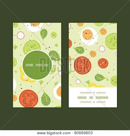 Vector fresh salad vertical round frame pattern business cards set