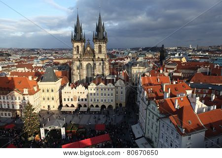 PRAGUE, CZECH REPUBLIC - 17 DECEMBER 2011: Photo of Old Town Square with views of the Tyn Church.