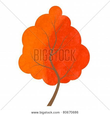 Abstract Red And Orange Tree On A White Background.