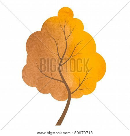 Abstract Brown And Yellow Tree On A White Background.