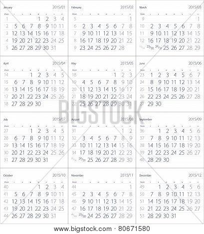 2015 Year Calendar.
