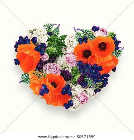 Heart Of Orange Poppies And Blue Flowers On St Valentines Day