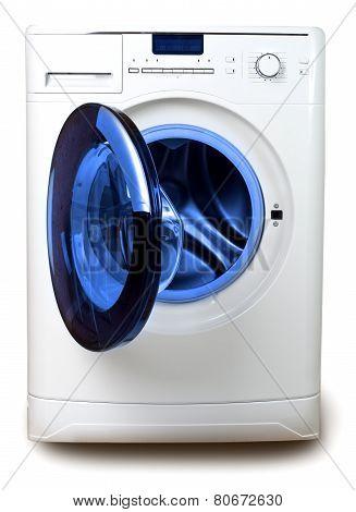The washing machine on a white background