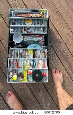 Fishing Tackle Box On a Dock
