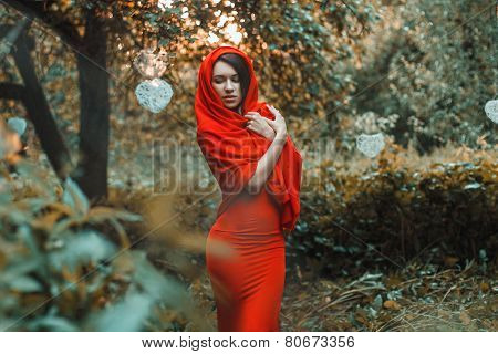 Glorious Girl In A Red Dress In The Garden With Hearts
