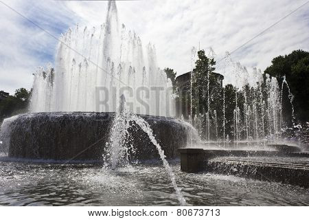Milan Sforza Castle  main fountain and its waterworks