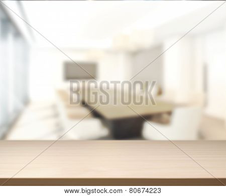 Wood Table Of Background In Meeting Room