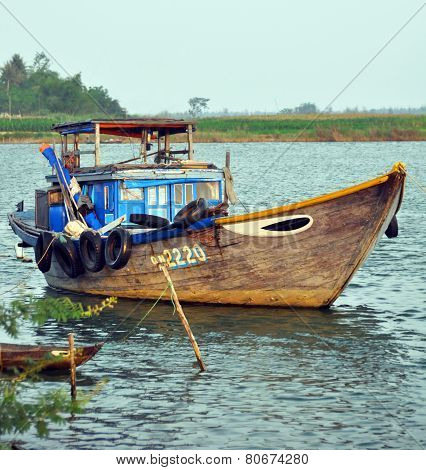 Fishing Boat On Hoi An River, Vietnam.