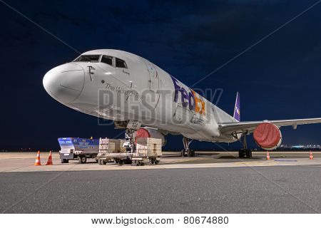 Budapest, Hungary - March 5 - Dc-10 Airplane At Budapest Airport Parking,  March 5Th 2014. Fedex Is