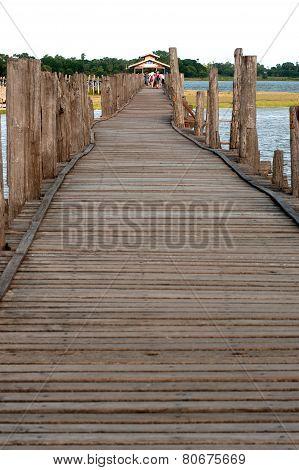 The Famous Wooden U-Bein Bridge In Myanmar.