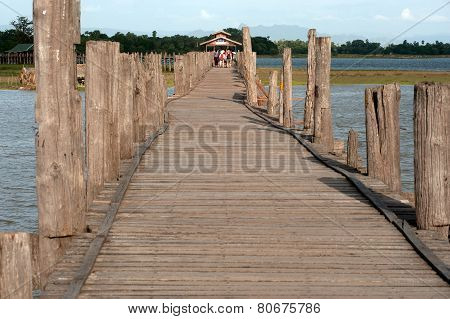 The Famous Wooden U-Bein Bridge In Myanmar.