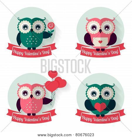 Valentine's Labels With Owls And Ribbons. Vector Set.