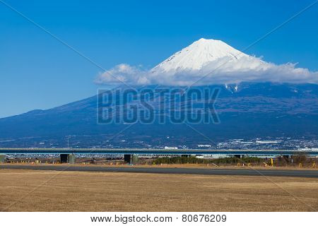 Mountain Fuji in winter season at Fujisawa river , Shizuoka prefecture