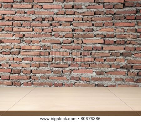 Wood Table Top And Brickwall Background
