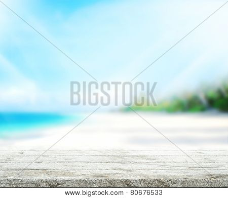 Wood Table  Top Background Sea And Sky 3D Render