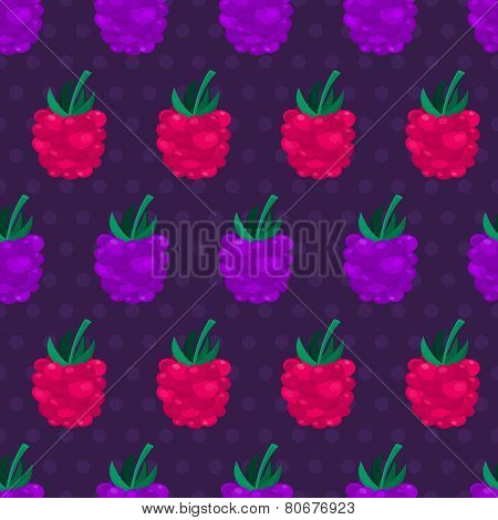 Blackberry And Raspberry Seamless Pattern. Vector Nature Background