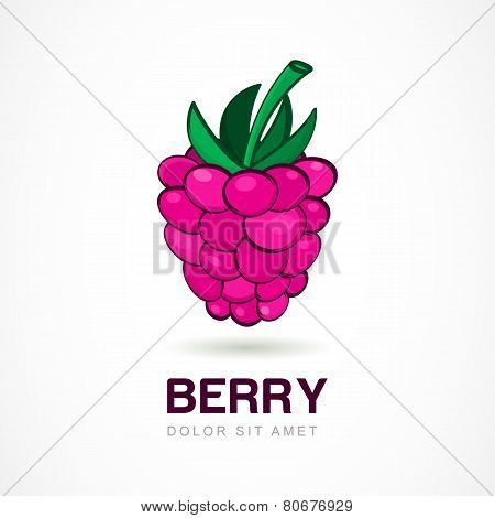 Raspberry Vector Logo Template. Abstract Design Concept For Natural Organic Product, Food, Fruit Mar