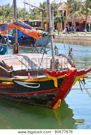 Fishing Boat In Hoi An Harbour, Vietnam.