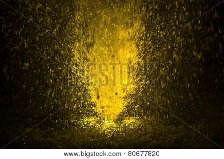 Colorful Fountain Splashes Yellow Color