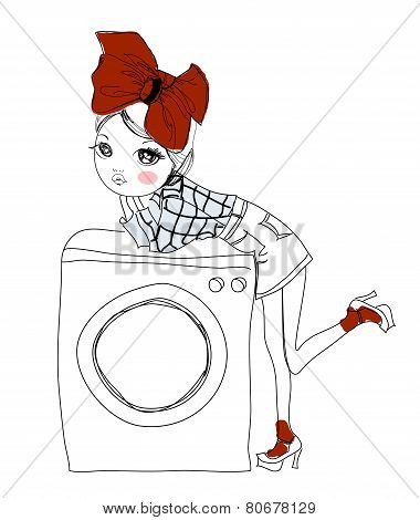 Girl and the washing machine
