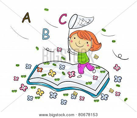 Little girl and book