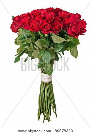 Colorful Flower Bouquet From Red Roses Isolated On White Background.