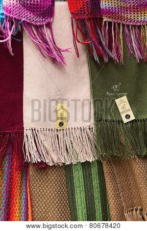Alpaca Scarves at Shop in La Paz, Bolivia