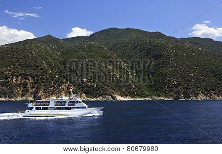 Motor boat in the Aegean Sea