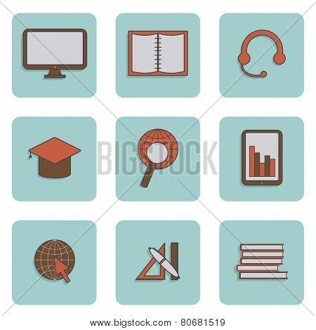 Set of e-learning icons