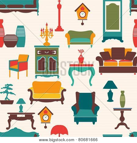Living Furniture Seamless Pattern