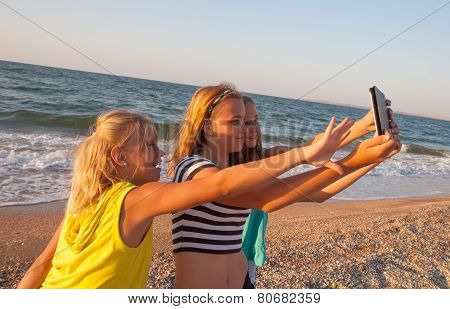 Concept Of Friendship, Fun In The Summer With New Trends And Technology