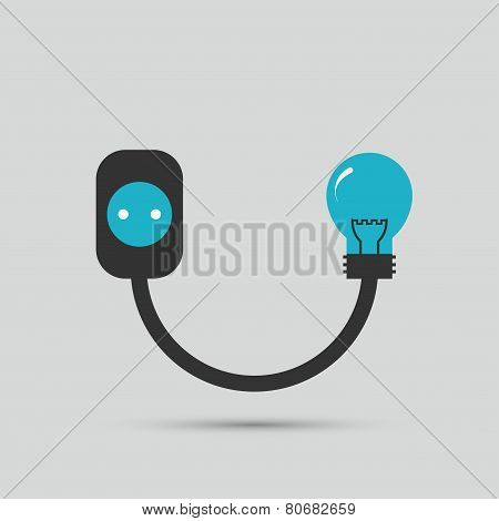 Electric wire light bulb and plug. Vector design