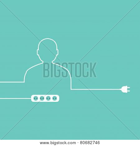 Vector outline of the human electrical wire