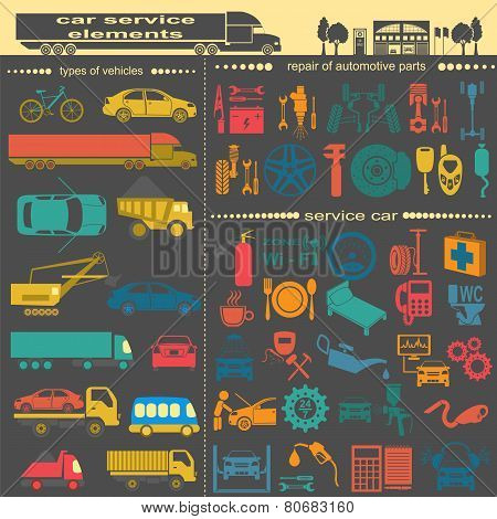 Set Of Auto Repair Service Elements For Creating Your Own Infographics Or Maps Of The Car Service St