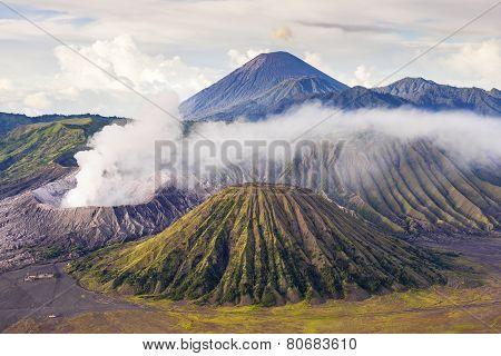 Mount Bromo  Batok Semeru Volcano, Java Indonesia. Mount Bromo  Batok Semeru Volcano