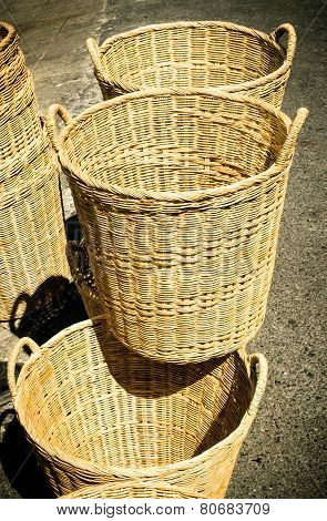 Handmade basket made from bamboo