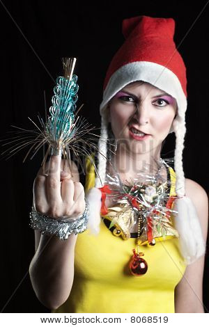Bad Christmas Girl Showing Middle Finger