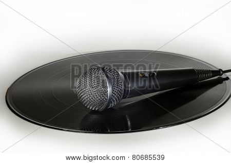 Microphone On A Vinyl Record Album