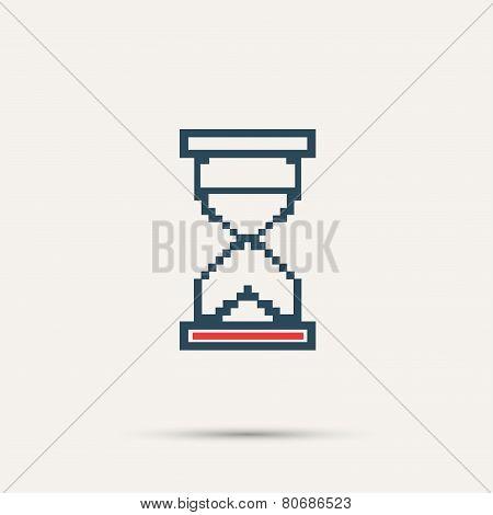 Simple stylish pixel icon hourglass. Vector design