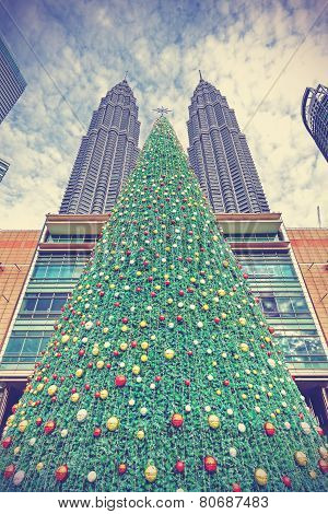 Vintage Styled Christmas Tree In Kuala Lumpur, Malaysia.