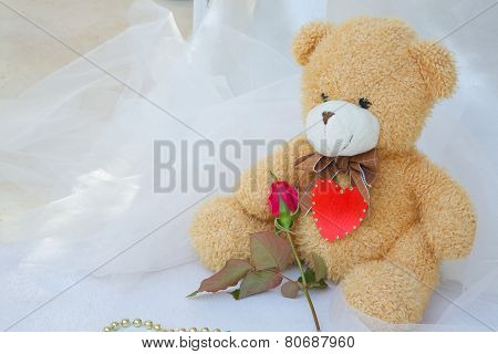 Teddy Bear With Red Heart And Red Rose