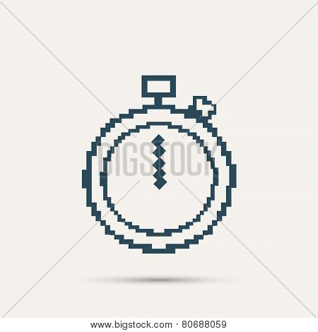 Simple stylish pixel icon stopwatch. Vector design